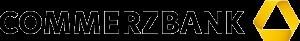 Icon des Partners Commerzbank, ein schwarzer Schriftzug Commerzbank mit dem dreidimensionalen Band in Gelb.